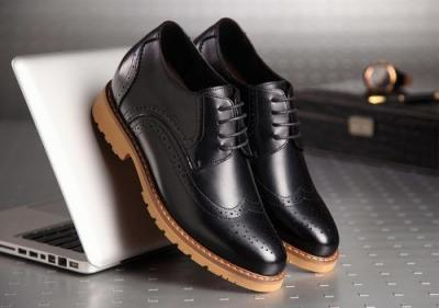 attixshoes stylish brogue 8cm taller black1 400x281 - MIGL - Brogue Handmade Leather Shoes 8cm Taller