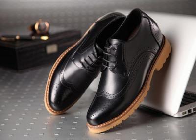 attixshoes stylish brogue 8cm taller black2 400x286 - MIGL - Brogue Handmade Leather Shoes 8cm Taller