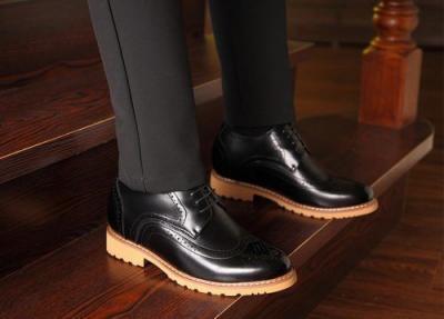 attixshoes stylish brogue 8cm taller black3 400x287 - MIGL - Brogue Handmade Leather Shoes 8cm Taller