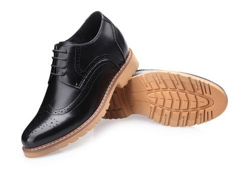 attixshoes stylish brogue 8cm taller black8 03 1 - MIGL - Brogue Handmade Leather Shoes 8cm Taller