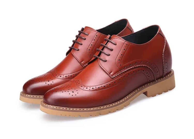 MIGL 8 CM ELEVATOR LIFT SHOES BROWN 1 1 750x539 - MIGL - Brogue Handmade Leather Shoes 8cm Taller