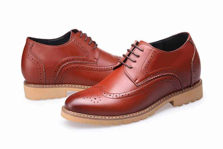 MIGL 8 CM ELEVATOR LIFT SHOES BROWN 3 1 750x501 - MIGL - Brogue Handmade Leather Shoes 8cm Taller