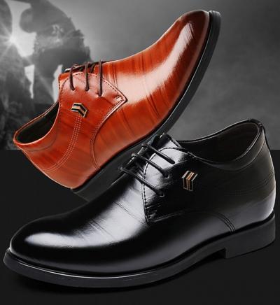 TXFS 8cm Black Brown 400x436 - TXFS Leather Shoes 8cm Taller
