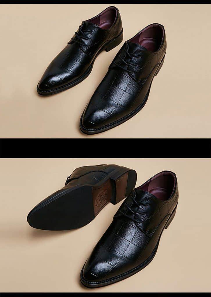 ATX 5cm black grey brown attix shoes 11 3 - ABFS - Black Leather Shoes 6 cm Taller